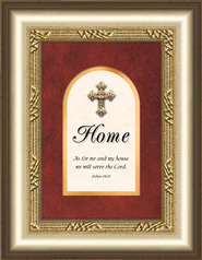 Home Framed Art with Cross, Joshua 24:15  -