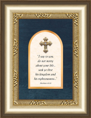 Jewel Cross Framed Art, Matthew 6:25-33  -