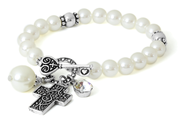 Cross ASK Toggle Stretch Bracelet, White  -