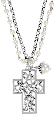 Double Chain ASK Cross Necklace, White  -
