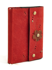 Leather Flower Journal, Red  -
