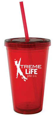 Xtreme Life Reusable Cup with Straw   -