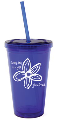 Every Day is a Gift from God Tumbler with Straw  -