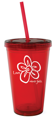 Love Never Fails Reusable Cup with Straw   -