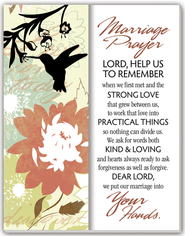 Marriage Prayer Glass Plaque  -