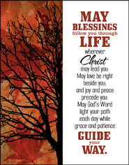 May Blessings Follow You Glass Plaque  -