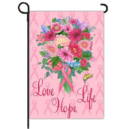 Love, Life, Hope, Pink Ribbon Flag, Small  -              By: MaryLou Troutman