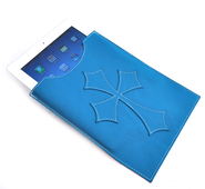 Leather IPad Cover with Flared Cross, Blue  -