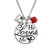 He Loves Me, John 15:9 Pendant  -
