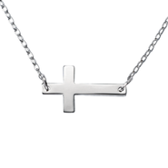 Horizontal Cross Pendant, Silver  -