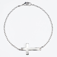 Horizontal Cross Bracelet, Silver  -