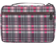 Plaid Bible Cover, Pink and Gray, Large   -
