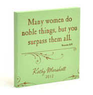 Personalized, Many Women Do Noble Things Square Plaque, Green  -