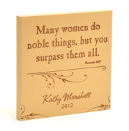 Personalized, Many Women Do Noble Things Square Plaque, Brown  -