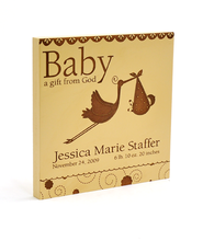 Personalized, Baby A Gift From God Square Plaque, Cherry Wood   -