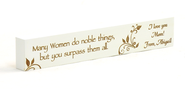 Personalized, Many Women Do Noble Things Long White Plaque, Small  -