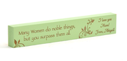 Personalized, Many Women Do Noble Things Long Green Plaque, Small  -