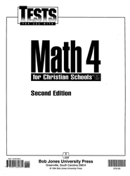 BJU Math 4 Tests, Second Edition    -