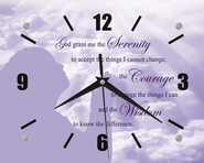 Serenity Prayer Clock Purple  -