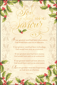 God Sent Us A Saviour Christmas Cards, Box of 18  -