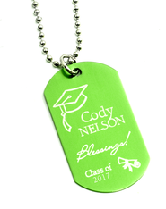 Personalized, Graduation Dog Tag, Green   -