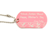 Personalized, Mother's Day Dog Tag, Pink   -