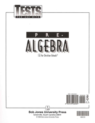 BJU Math 8: Pre-Algebra, Tests    -