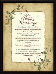 Rules for a Happy Marriage Plaque  -