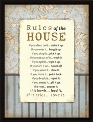 Rules of the House Plaque  -