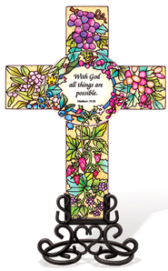 Whit God All Things Are Possible Cross Suncatcher   -