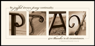 Alphabet Print, Pray, I Thessalonians 5:16-18, Mounted Print  -     By: Jennifer Blakeley