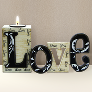 Love Cut Out Word with Tea Light Holder  -