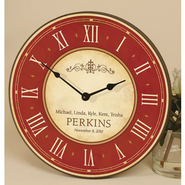 Personalized, Cross & Family, Round Red & White Wall Clock  -