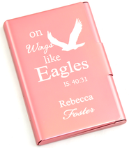 Personalized, Metal Business Card Holder, Like Wings On Eagles, Pink  -