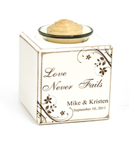 Personalized, Love Never Fails Votive Holder   -