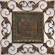 Faith, Hope, Love Metal Wall Hanging  -