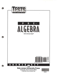 BJU Math Grade 8: Pre-Algebra, Tests Answer Key    -
