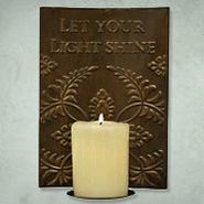 Let Your Light Shine Metal Candle Sconce  -