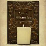 Give Thanks Metal Candle Sconce  -