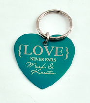 Personalized, Love Never Fails Heart Keychain, Teal   -