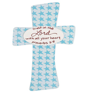 Trust in the Lord Baby Cross, Blue  -              By: Maggie Lindley