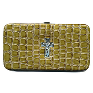 Croc Wallet with Embossed Cross, Green   -