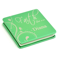 Personalized, Faith Compact Mirror, Green    -