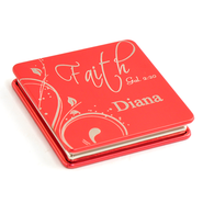 Personalized, Faith Compact Mirror, Red   -