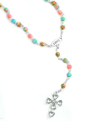 Rosary Necklace, Coral and Turquoise   -