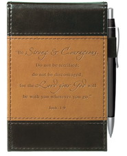Strong and Courageous Pocket Notes, Brown and Black  -