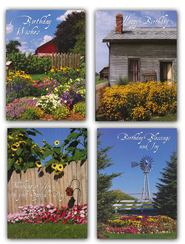 Country Gardens Birthday Cards, Box of 12  -