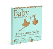 Personalized, Baby, A Gift From God Square Plaque, Blue   -