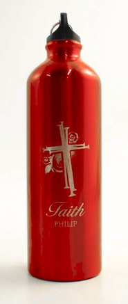 Personalized Nail Cross Water Bottle, Red   -