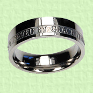 Saved By Grace Scripture Band, Size 8  -
